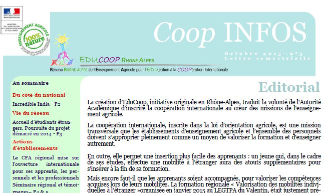 Les actions Coop de Rhônes Alpes