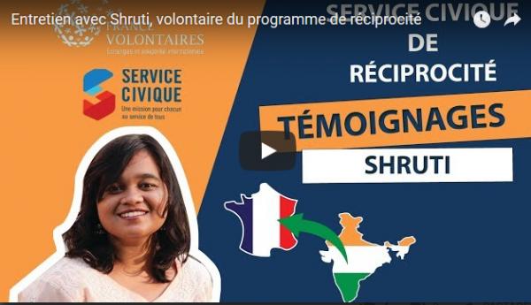Témoignage vidéo de Shruti, en service civique réciprocité au lycée agricole de Laval