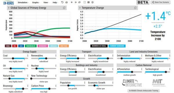 """""""En-Road"""" + """"Climate Action Simulation"""" : Un outil interactif en ligne et un jeu de rôle pour imaginer un monde sous les 2 °C de réchauffement en 2100"""